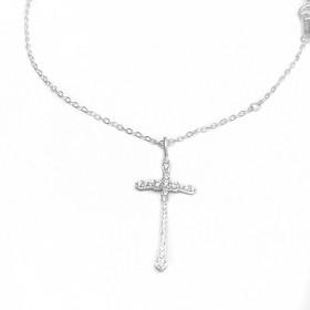 Conjunto Crucifixo Cravejado 2,8mm X 13mm + Carrier 42cm (Prata 925 Italiana)