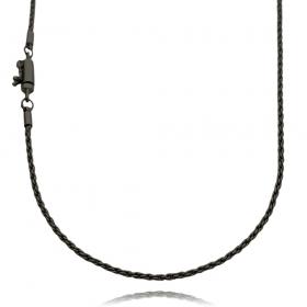 Corrente Cordão Baiano Diamantado 2mm 70cm (10g) (Fecho Canhão) (Banho de Ônix)