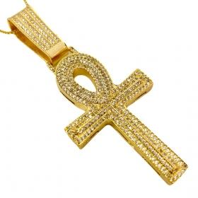 Corrente Carrier Arredondada 5mm 70cm (37g) (Fecho Canhão) + Pingente Crucifixo Cruz Ansata Cravejada em Zircônia (5,5cmX3,2cm) (13,5g) (Banho Ouro 24k)