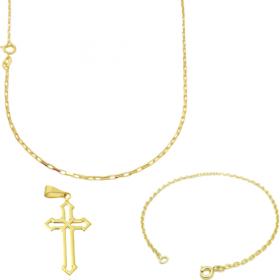 Corrente Carrier Cadeado 1,2mm 70cm (Fecho Tradicional) (TAG) + Pulseira Carrier Cadeado 2mm (Fecho Tradicional) + Pingente Crucifixo Vazado 2,8cm X 1,5cm