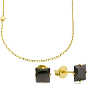 Corrente Carrier Cadeado 2mm 60cm (Fecho Tradicional) + Brinco Pedra Preta de Zircônia Quadrada 6mm X 6mm