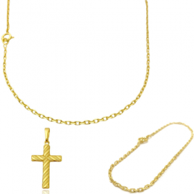 Corrente Carrier Cadeado 2mm 60cm (Fecho Tradicional) + Pulseira Carrier Cadeado 2mm (Fecho Tradicional) + Crucifixo Texturizado (3,0cm x 1,8cm)