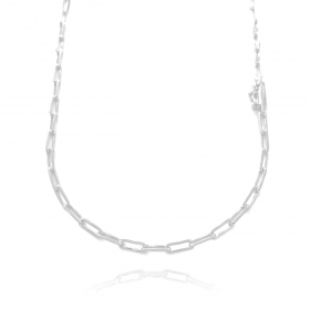 Corrente Carrier Diamantada 3mm 70cm (13,2g) (Fecho Canhão) (Banho Prata 925)