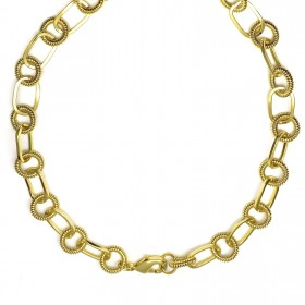 Corrente Chain Elos Duplos Texturizado 40cm 35g (Banho Ouro 24k)
