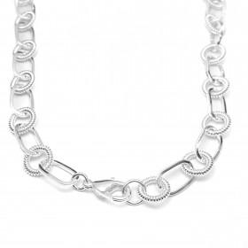 Corrente Chain Elos Duplos Texturizado 40cm 35g (Banho Prata 925)