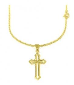 Corrente Cordão Baiano 1,8mm 60cm (Fecho Tradicional) + Pingente Crucifixo Vazado 2,8cm X 1,5cm (Banho Ouro 24k)