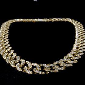 Corrente Cuban Link Grumet Cravejada em Zircônia Suíça 15mm 50cm 103g (Banho Ouro 24k)