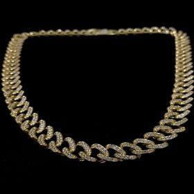 Corrente Cuban Link Grumet Cravejada em Zircônia Suíça 10mm 45cm 40g (Banho Ouro 24k)