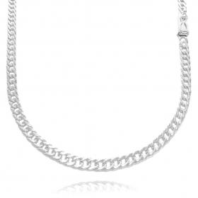 Corrente Double Grumet Diamantada 4,3mm 60cm (18,5g) (Fecho Gaveta) (Banho Prata 925)