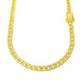 Corrente Double Grumet Diamantada 5,5mm 70cm 32g (Fecho Gaveta Dupla) (Banho Ouro 24K)