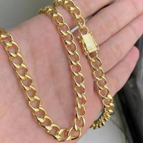 Corrente Grumet 7,5mm 70cm (40g) (Fecho Gaveta Duplo) + Pingente Cifrão Cravejado em Zircônia (4,8cmX2,3cm) (Banho Ouro 24k)