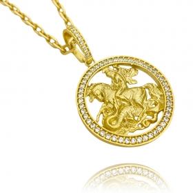 Corrente Grumet 7,5mm 70cm (43,3g) (Fecho Gaveta Dupla) +  Pingente Medalha São Jorge Vazado Cravejado (4cmX3,6cm) (11g) (Banho De Ouro 24k)