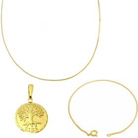 Corrente Rabo De Rato Quadrada 1,2mm 70cm (Fecho Tradicional TAG) + Pulseira Rabo de Rato Quadrada 1,2mm (Fecho Tradicional) + Pingente Medalha Árvore Da Vida 1,5cm X 1,5cm