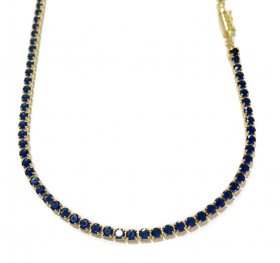 Corrente Riviera Tennis Chain 3mm 50cm 10g (Pedra Zircônia Azul) (Banho Ouro 24k)