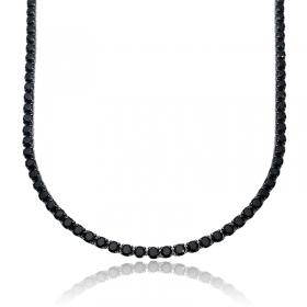 Corrente Riviera Tennis Chain 3mm 70cm (19,6g) (Pedra Zircônia) (Banho de Ônix)