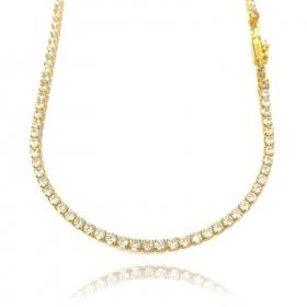 Corrente Riviera Tennis Chain (Pedra Zircônia) 3mm 50cm (14,7g) (Banho Ouro 24k)