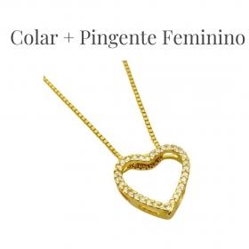 Corrente Veneziana 1,2mm 40cm (Fecho Tradicional) (Banho Ouro 24k) + Pingente Coração Vazado 1,5x1,5cm (1,5g) (Banho Ouro 24k)