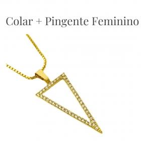 Corrente Veneziana 1,2mm 40cm (Fecho Tradicional) (Banho Ouro 24k) + Pingente Triângulo Invertido Cravejado em Zircônia (Banho Ouro 24k)