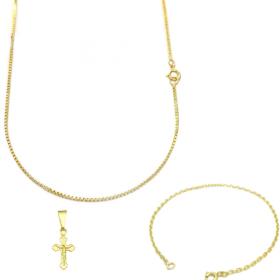 Corrente Veneziana 1,2mm 70cm (Fecho Tradicional) + Pulseira Carrier Cadeado 2mm (Fecho Tradicional) + Pingente Crucifixo Jesus mini (1,4cm X 0,7cm)