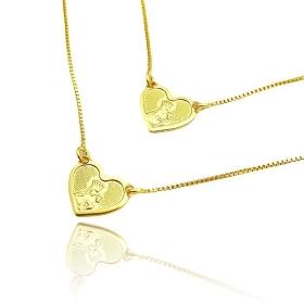 Escapulário Coração + Nossa Senhora do Carmo e Sagrado Coração (Banho Ouro 24k)