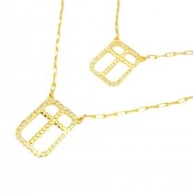 Escapulário Crucifixo Cravejado 60cm (Banho Ouro 24k)
