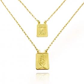 Escapulário Deus é Fiel e Jesus 70cm Carrier Cadeado (Banho Ouro 24k)
