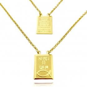 Escapulário Deus é Fiel e Versículo Mt 23:20 1mm 60cm (Elo Portugues) (Banho Ouro 24k)