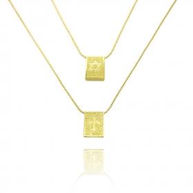 Escapulário Estrela de Davi e Cruz Texturizada Veneziana 60cm (Banho Ouro 24k)