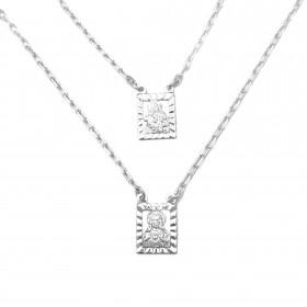 Escapulário N.S. Do Carmo e Sagrado C. Jesus Vazado 2mm x 70cm Carrier Diamantada  (Banho Prata 925)