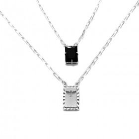 Escapulário Retangulo Espírito Santo Pedra Preta Carrier Diamantada 3mm 70cm (12,6g) (Banho Prata 925)