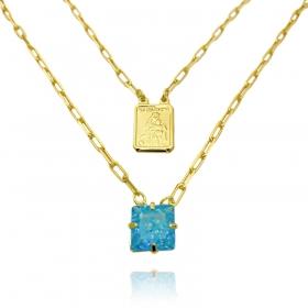 Escapulário Pedra Carre Aquamarine + Sagrado Coração 70cm Carrier Diamantada 11,3g (Banho Ouro 24k)