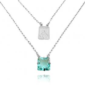 Escapulário Pedra Carre Azul Claro + Sagrado Coração 70cm Carrier Diamantada (7g) (Banho Prata 925)