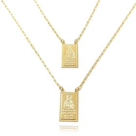 Escapulário Pela Graça Sois Salvos e O Sr.Te Abençoe e Te Guarde 60cm Cartier Cadeado (Banho Ouro 24k)