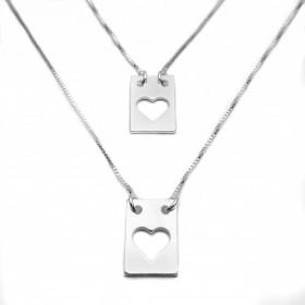 Escapulário Placa Coração Vazado 60cm (Banho Prata 925)