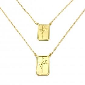 Escapulário Placa Fé Carrier Diamantada 2mm 70cm (7,5g) (Banho Ouro 24K)