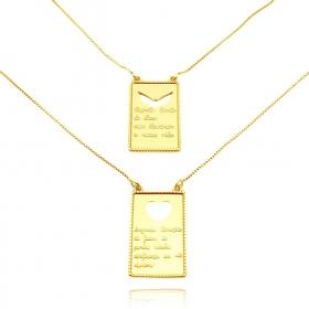 Escapulário Placa Sagrado Coração Vazado 60cm (Banho Ouro 24k)