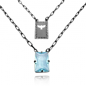 Escapulário Retangulo Espírito Santo Pedra Azul Claro Carrier Diamantada 3mm 70cm (10,3g) (Banho Ônix)