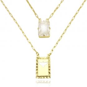 Escapulário Retangulo Espírito Santo Pedra Cristal 3mm 70cm (11.4g) (Carrier Diamantada) (Banho Ouro 24k)