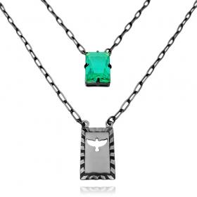 Escapulário Retangulo Espírito Santo Pedra Verde Carrier Diamantada 3mm 70cm (10,3g) (Banho de Ônix)