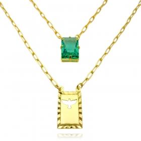 Escapulário Retangulo Espírito Santo Pedra Verde Carrier Diamantada 3mm 70cm 10,3g (Banho Ouro 24k)