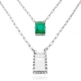 Escapulário Retângulo Espírito Santo Pedra Verde Carrier Diamantada 3mm 70cm (10,3g) (Banho Prata 925)