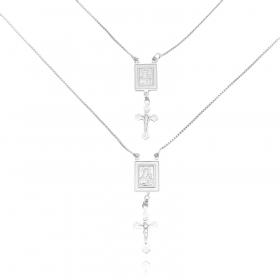 Escapulário Sagrado Coração + Crucifixo 60cm (Banho Prata 925)