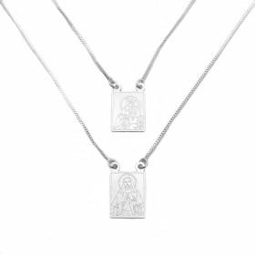 Escapulário Sagrado Coração de Jesus e N.S. do Carmo 60cm Veneziana (Banho Prata 925)