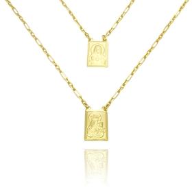 Escapulário Sagrado Coração de Jesus e Nossa Senhora Do Carmo 60cm Carrier (Dupla Face) (Banho Ouro 24k)