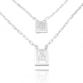 Escapulário Sagrado Coração de Jesus e Nossa Senhora Do Carmo 60cm Carrier (Dupla Face) (Banho Prata 925)