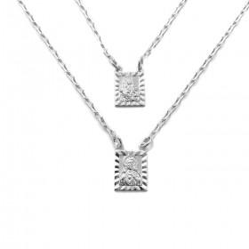 Escapulário Sagrado Coração + N.S Do Carmo Retrato com Textura 70cm Carrier Diamantada (7,4g) (Banho Prata 925)