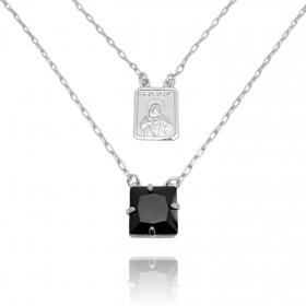 Escapulário Sagrado Coração de Jesus Pedra Preta 2mm 70cm Carrier Diamantada (7g) (Banho Prata 925)