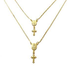 Escapulário Sagrado Coração e Nossa Senhora Aparecida 60cm Veneziana (Banho Ouro 24k)