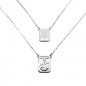Escapulário Sagrado Coração e Nossa Senhora Do Carmo 60cm Carrier (Dupla Face) (Prata 925 Italiana) E52P