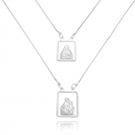 Escapulário Sagrado Coração e Nossa Senhora do Carmo Vazado 60cm Veneziana (Banho Prata 925)